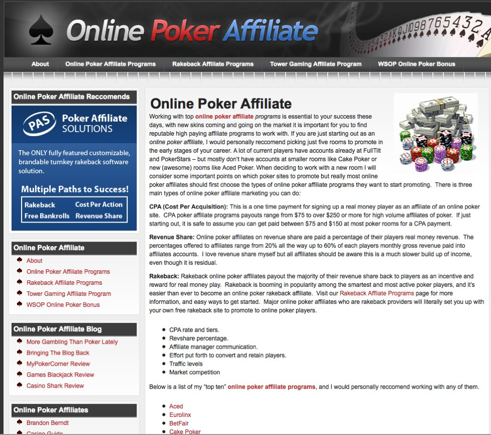 Online Poker Affiliate - Poker Site Affiliates Blog